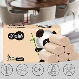 Toilettenpapier 4 Lagig Bambus Klopapier Panda Toilettenpapier 6 Rollen, 100% Reines Natürliches Bambuspulpe Haushaltsrollen Papier Für Erwachsener Und Baby - 1